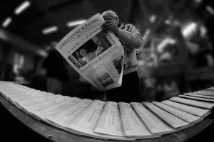 ejemplo de impresión offset en una rotativa de periódicos